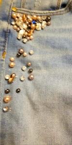 Embellished step-hem distressed jeans in light wash by AQUA