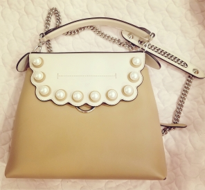 Fendi Faux Pearl Back to School Leather Backpack