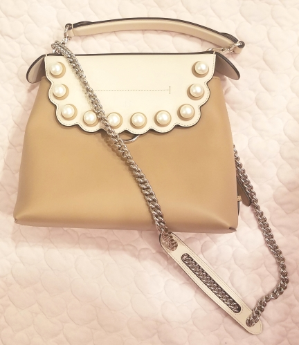 Fendi Faux Pearl Back to School Leather Backpack - front view with the chain strap