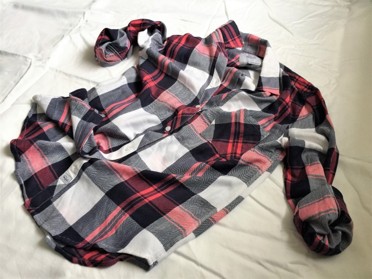 Rails Hunter Plaid Shirt with sleeves folded