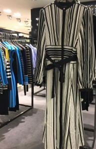 Striped midi shirt dress by Karen Millen in black and white, Spring 2018