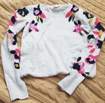 Boden Printed Sweater in Floral Placement (pink)