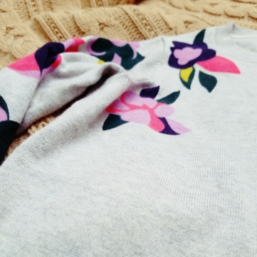 Boden Printed Sweater - close up view of the floral prints