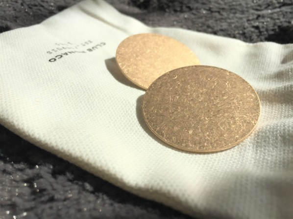 Sophisticated Brass Button Post Earrings by Club Monaco