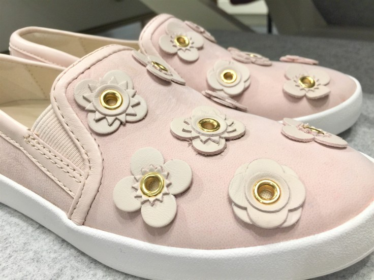 Cole Haan Women's GrandPro Spectator Slip-On Sneakers in Peach Blush-Floral_Optic White_closeup