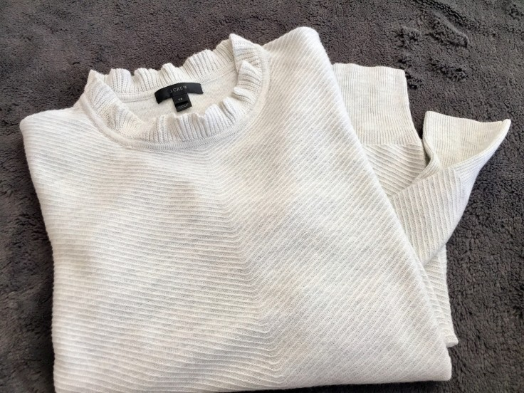 J.Crew Ruffle-neck Pullover Sweater _ Folded