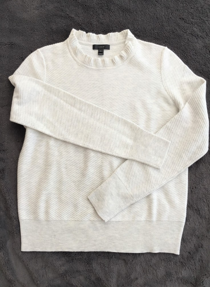 J.Crew Ruffle-neck Pullover Sweater _ Front Profile