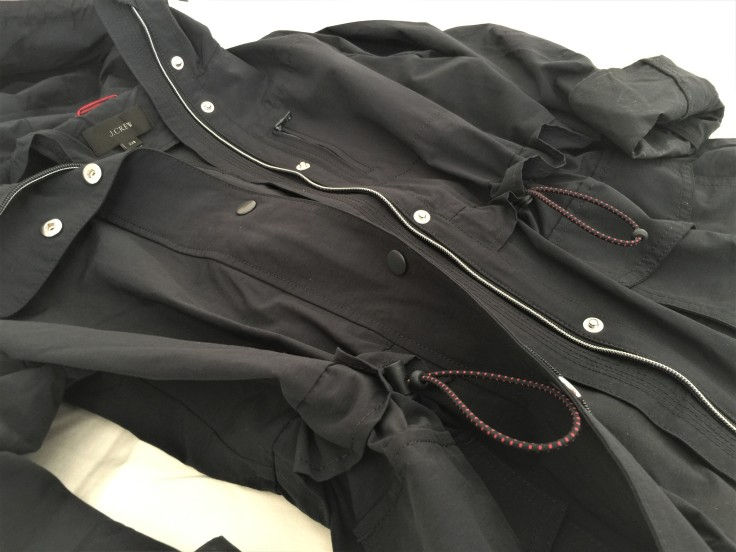 Close Up of Perfect Rain Jacket by J.Crew in Navy Blue