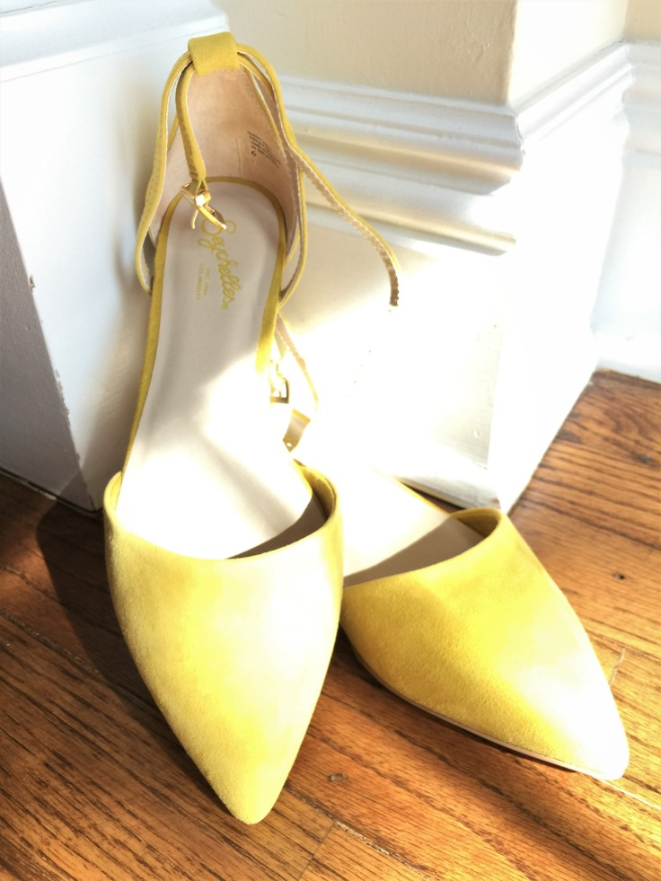 Yellow pointy flat with ankle strap by Seychelle