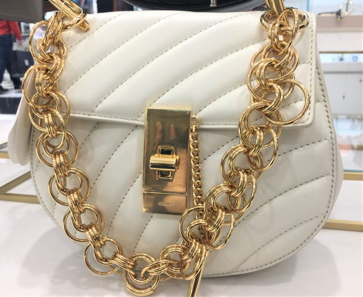 Chloe Small Quilted Drew Bag in White