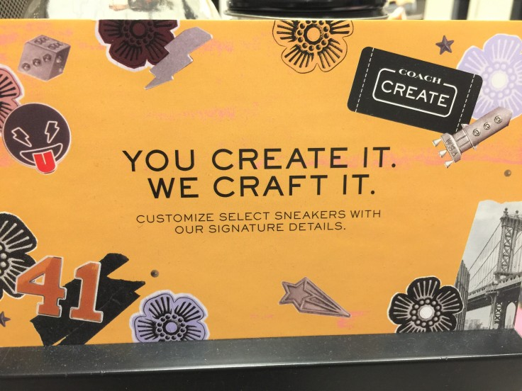 "Coach Sneakers - ""Create Your Own"" sign"